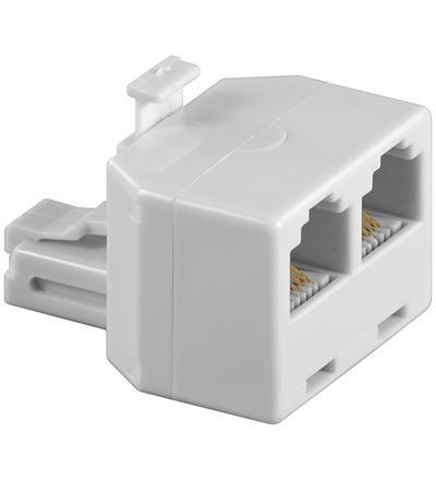 kabelmeister® T-Adapter RJ12 Stecker an 2x RJ12 Buchse, weiß