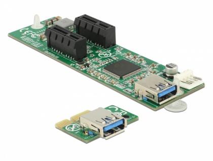 Riser Karte PCI Express x1 > 2 x PCIe x1 mit 30 cm USB Kabel , Delock® [41433]