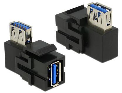Keystone Modul, USB 3.0 Buchse A an USB 3.0 A Buchse 90____deg; gewinkelt, schwarz, Delock® [86360]