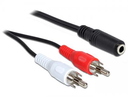 Audio Adapter 3, 5mm Klinke Buchse an 2x Cinch Stecker, 1, 4m, Delock® [84769]