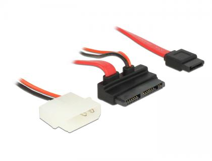Kabel Micro SATA Stecker gewinkelt an SATA 7 Pin + 2 Pin Power 5 V 60 cm, Delock® [83912]