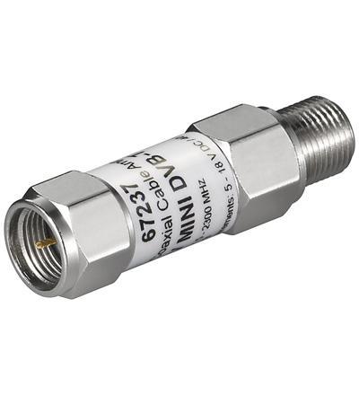 Mini Koaxialkabel-Verstärker 18dB (DVB-T/SAT), F-Stecker auf F-Kupplung (5-2300 MHz)