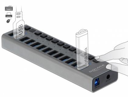 Externer USB 3.0 Hub mit 13-Ports + Schalter , Delock® [63977]