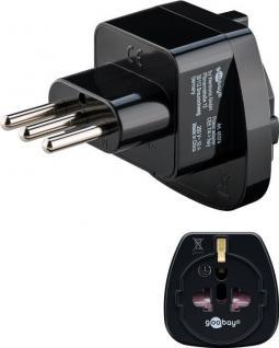Netzadapter, Italien-Stecker (Typ L) an Schutzkontaktbuchse (Typ F), schwarz