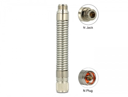 Biegbare Schwanenhals-Antennenverlängerung N Stecker an N Buchse Edelstahl flexibel, Delock® [89601]