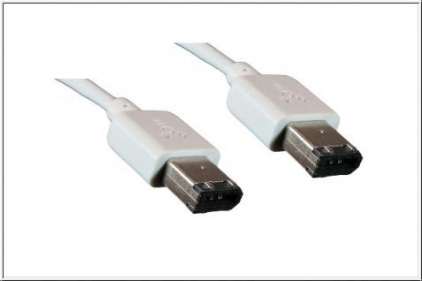 kabelmeister® FireWire Kabel 6 auf 6 polig, im MAC Design, weiß, 1m