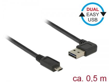 Kabel EASY-USB 2.0 Typ-A Stecker gewinkelt links / rechts an EASY-USB 2.0 Typ Micro-B Stecker, schwarz, 0, 5 m, Delock® [85164]