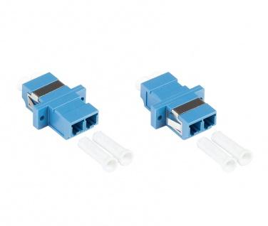 kabelmeister® LWL Duplex Kupplung, LC (UPC) an LC (UPC), OS2, Singlemode, Kunststoffgehäuse mit Flansch, Keramikhülse, blau