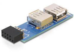 USB Pinheader Buchse an 2 x USB 2.0 Buchse - rechts an links, Delock® [41820]