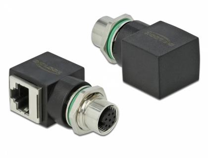 Netzwerkadapter M12 8 Pin A-kodiert Buchse an RJ45 Buchse, Delock® [66314]