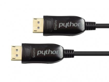 Optisches Hybrid DisplayPort 1.2 Anschlusskabel, 4K2K / UHD 60Hz, vergoldete Stecker und Kupferkontakte, schwarz, 5m, PYTHON® Series