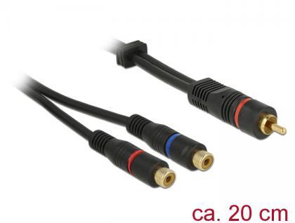 Kabel 1x Cinch Stecker an 2x Cinch Buchse, OFC, schwarz, 0, 2m, Delock® [85225]
