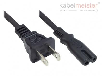 kabelmeister® Netzkabel Amerika/USA Typ A (NEMA 1-15P) an C7/Euro 8 Buchse (gerade), UL, schwarz, AWG18, 1, 8 m