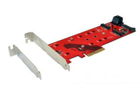 PCIe (x4) Controller für zwei SATA M.2 NFGG und einem PCIe M.2 NGFF Modul, inkl. LP Bügel, Exsys® [EX-3660]