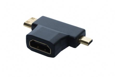 HDMI T-Adapter, Buchse A auf 1x Stecker D + 1x Stecker C, vergoldete Kontakte, Good Connections® - Vorschau