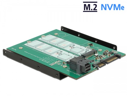 3, 5' Konverter SATA 22 Pin / SFF-8643 NVMe an 1x M.2 Key M + 1x M.2 Key B, Delock® [62704]