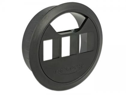 Keystone Halterung 3 Port Tisch-Einbau 60 mm schwarz, Delock® [86277]