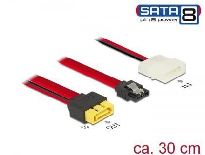 Kabel SATA 6 Gb/s 7 Pin Buchse + Molex 2 Pin Strom Stecker an SATA Stecker Pin 8 Power mit Einrastfunktion, 0, 3 m , Delock® [84947]
