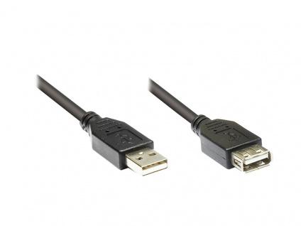Verlängerungskabel USB 2.0 , Stecker A an Buchse A, schwarz, 1m, Premium, Good Connections®