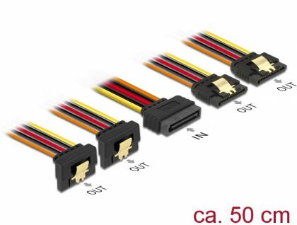 Kabel SATA 15 Pin Strom Stecker mit Einrastfunktion an SATA 15 Pin Strom Buchse 2 x gerade / 2 x unten 0, 5 m, Delock® [60152]