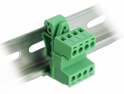 Terminalblock Set für Hutschienen, 4-Pin, mit Rastermaß 5, 08mm, gewinkelt, Delock® [66079]