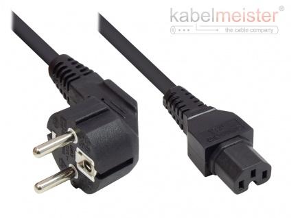 kabelmeister® Netzkabel Schutzkontakt-Stecker Typ E+F (CEE 7/7, gewinkelt) an C15 Warmgerätebuchse (gerade), schwarz, 1, 00 mm², 1, 8 m