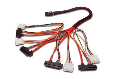 kabelmeister® Mini SAS 36-pin Stecker (SFF-8087) auf 4x SAS 29-pin Stecker (SFF-8482) + 4x 5, 25' Stromanschluss, 0, 5m