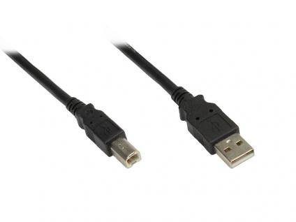 kabelmeister® Anschlusskabel, USB 2.0, Premium, 1, 8m, Stecker A zu Stecker B, schwarz