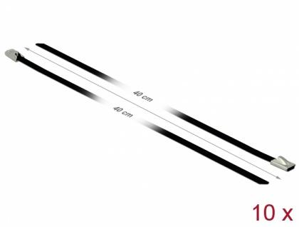 Edelstahlkabelbinder L 400 x B 4, 6 mm schwarz 10 Stück, Delock® [18811]