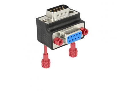 Adapter, Sub-D 9Pin Stecker an Buchse, 270____deg; gewinkelt, Schraube/Mutter tauschbar, Delock® [65595]