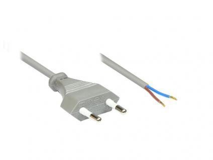 kabelmeister® Euro-Netzkabel mit abisolierten Enden, grau, 1, 5m