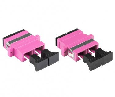kabelmeister® LWL Duplex Kupplung, SC (UPC) an SC (UPC), OM4, Multimode, Kunststoffgehäuse mit Flansch, Keramikhülse, violett