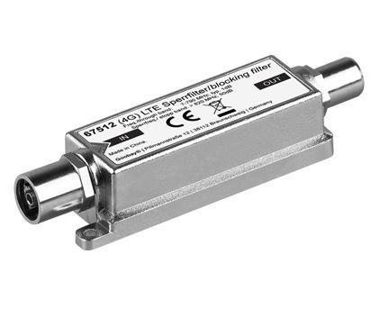 Sperrfilter für DVB-T, LTE, Koax-Buchse/Koax-Stecker