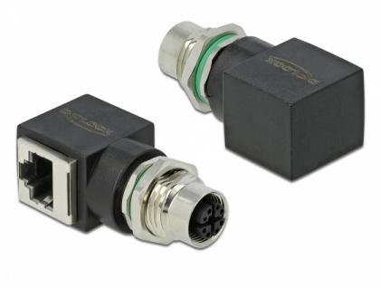 Netzwerkadapter M12 8 Pin X-kodiert Buchse an RJ45 Buchse, Delock® [66316]