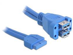 Kabel, USB 3.0 Pin Header Buchse an 2 x USB 3.0 A Buchse (übereinander), ca. 0, 45m, Delock® [82942]