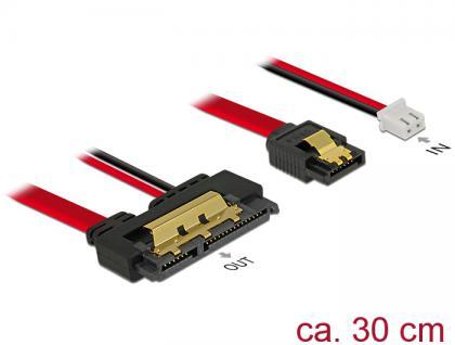 Kabel SATA 6 Gb/s 7 Pin Buchse + 2 Pin Strom Buchse an SATA 22 Pin Buchse gerade (5V), Metall, 0, 3m, Delock® [85242]
