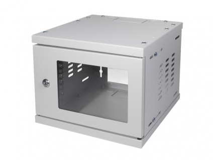10' SOHO Wandgehäuse 4HE 312x300mm, montiert, grau, LogiLink® [W06Z33G]