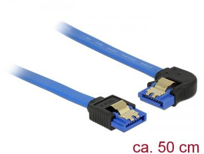 Kabel SATA 6 Gb/s Buchse gerade an SATA Buchse links gewinkelt, mit Goldclips, blau, 0, 5m, Delock® [84985]