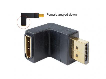 Adapter Displayport Stecker an Displayport Buchse, gewinkelt unten, Delock® [65382]