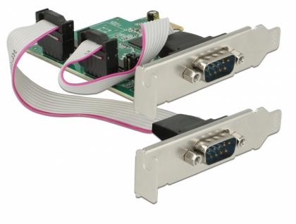 PCI Express Karte an 2x Seriell RS-232 High Speed 921K mit Spannungsversorgung, Delock® [89641]