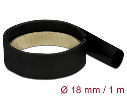 Schrumpfschlauch 1 m x 18 mm schwarz, Delock® [18977]