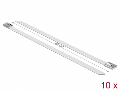 Edelstahlkabelbinder L 200 x B 7, 9 mm weiß 10 Stück, Delock® [18821]
