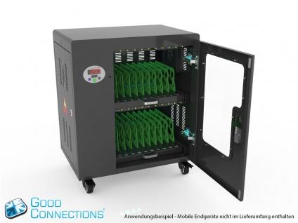 Tablet-Ladewagen für bis zu 20 Geräte, UV-C Desinfektion, Smart Control, schwarz, Good Connections®