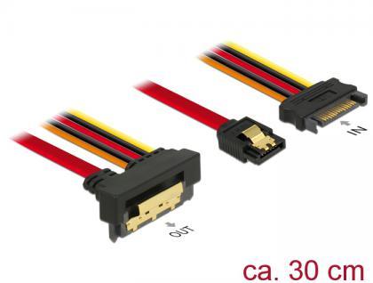Kabel SATA 6 Gb/s 7 Pin Buchse + SATA 15 Pin Strom Stecker an SATA 22 Pin Buchse unten gewinkelt Metall, 0, 3m, Delock® [85229]