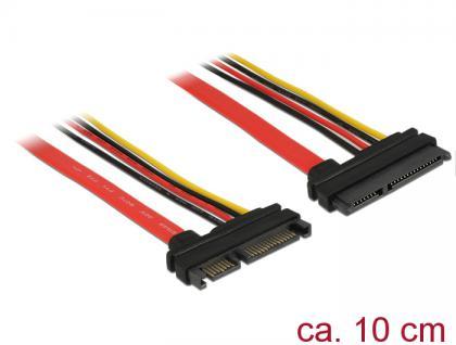 Verlängerungskabel SATA 6Gb/s, 22 Pin Stecker an SATA 22 Pin Buchse (5V + 12V), 0, 1m, Delock® [83802]