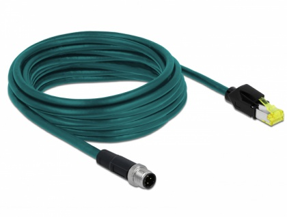 Netzwerkkabel M12 4 Pin D-kodiert an RJ45 Hirose Stecker TPU, wasserblau, 5 m, Delock® [85444]
