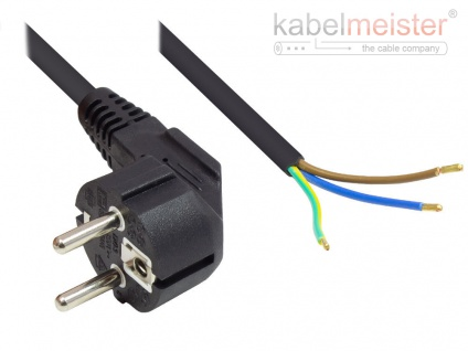kabelmeister® Netzkabel Schutzkontakt-Stecker Typ E+F (CEE 7/7, gewinkelt) an abisolierte Enden, schwarz, 1, 00 mm², 5 m