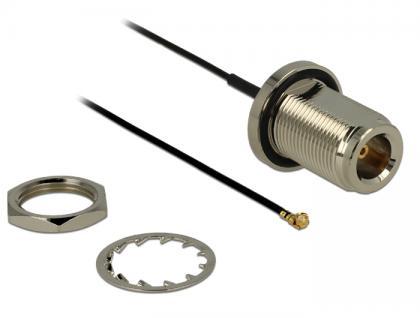 Antennenkabel N Buchse zum Einbau an MHF/U.FL kompatibler Stecker 130 mm spritzwassergeschützt, Delock® [89430]