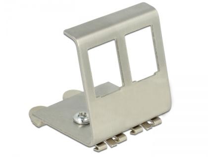 Keystone Metall Halterung 2-Port für Hutschiene, Delock® [86255]