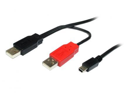 kabelmeister® Y-Kabel USB 2.0 2x Stecker A an Stecker Mini B 5-pin, schwarz, 0, 8m